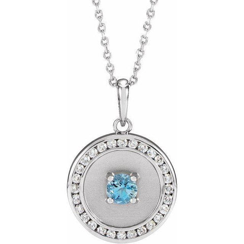 "Aquamarine & Diamond Disc Necklace 1/4 ctw 16-18"" - 14K White Gold"