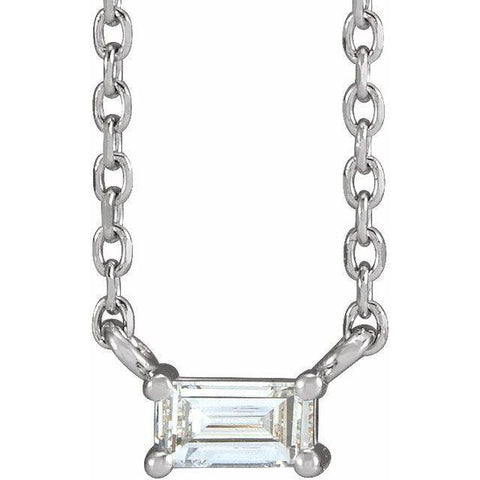 Baguette Diamond Solitaire Necklace 1/8 ctw 18""