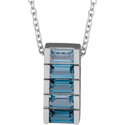 Multi-Color Topaz Channel-Set Bar Necklace - 14K White Gold