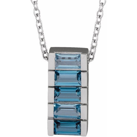 "Multi-Color Topaz Channel-Set Bar Necklace 16-18"" - 14K White Gold"