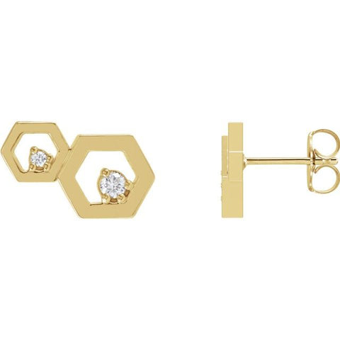 Diamond Honeycomb Earrings .08 ctw
