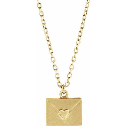 "Heart Envelope Necklace 16-18"" - 14K Yellow Gold"