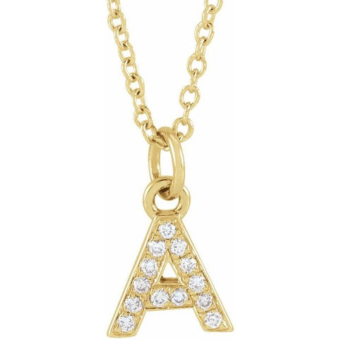 Diamond Petite Initial Necklace 16-18""