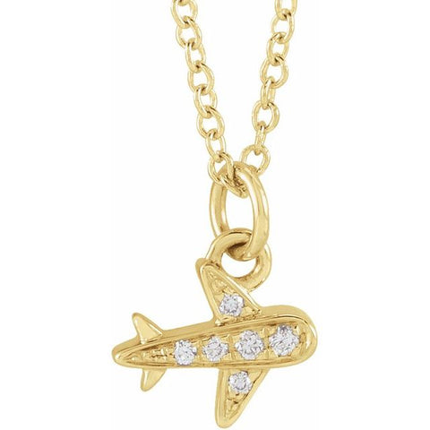 Petite Diamond Airplane .025 ctw  Necklace 16-18""