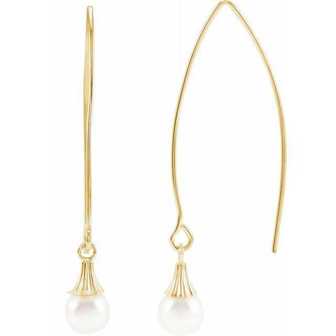 Akoya Pearl Ear Threader Earrings - 14K Yellow Gold