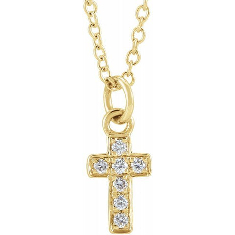 "Diamond Youth Cross Necklace .04 ctw 15"" - 14K Yellow Gold"