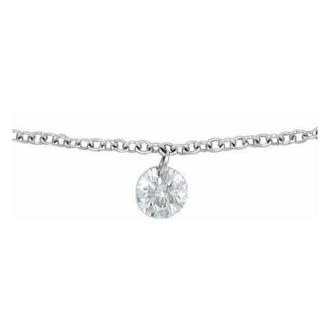 Drilled Diamond Solitaire Necklace 1/6 ctw