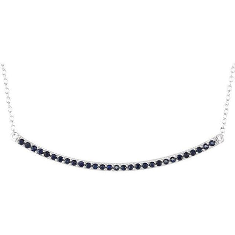 "14K White Gold Blue Sapphire Bar Necklace 16-18"" - Henry D Jewelry"