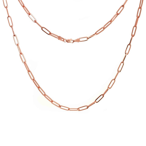 Flat Wire Long Link Chain - Rose Gold Plated Sterling Silver