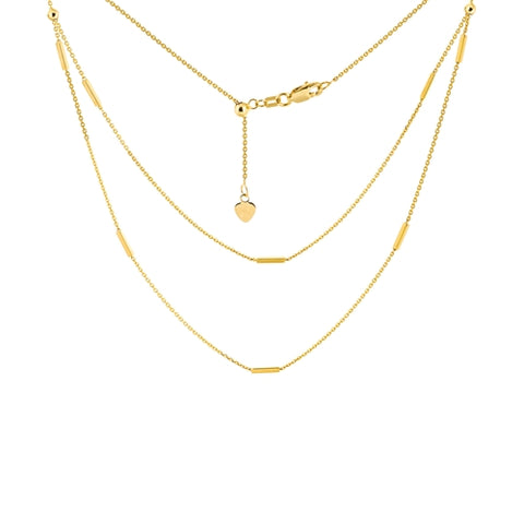 "Double Strand Bar Station Choker Adjustable Necklace 17"" - 14K Yellow Gold"