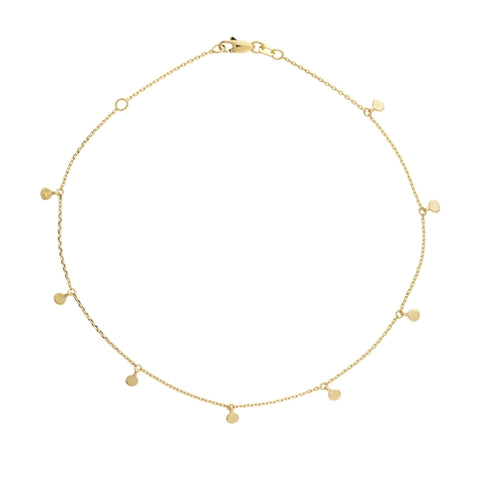 "Dangle Disc Anklet 9-10"" - 14K Yellow Gold"