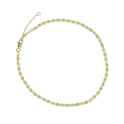"Fancy Valentino Chain Anklet 9-10"" - 14K Yellow Gold"