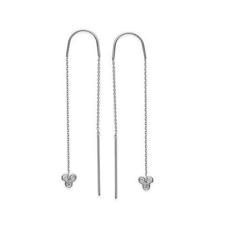 Bezel-Set Diamond Dangle Threader Earrings 1/10 ctw