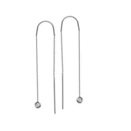 Bezel-Set Diamond Dangle Threader Earrings 1/20 ctw - Henry D