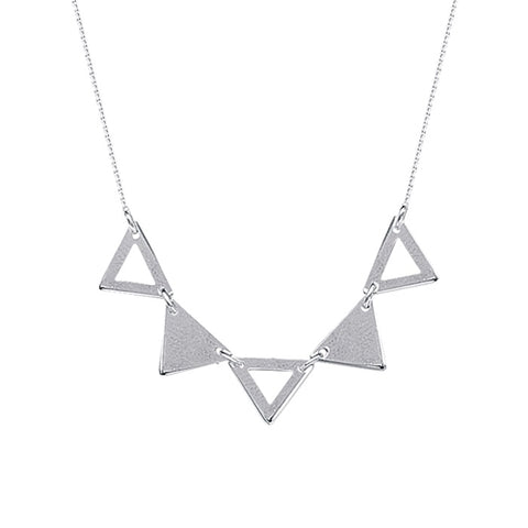 "Open & Solid Triangle Necklace 18"" - Sterling Silver"