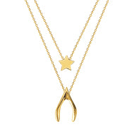 "Wish Upon A Star Adjustable Layered Necklace 16-18"" - 14K Yellow Gold"
