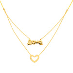 "Love & Heart Layered Adjustable Necklace 16-18"" - 14K Yellow Gold"