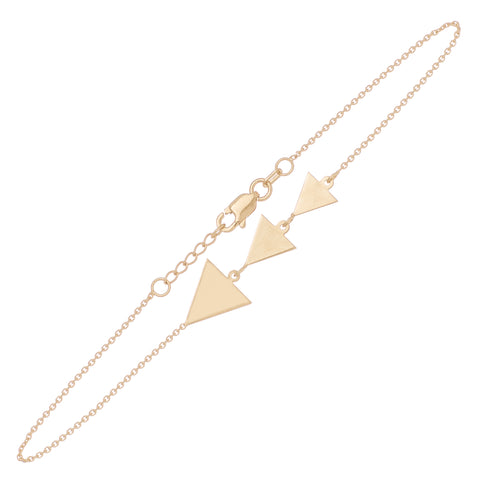 "Triangle Cut out Bracelet 7.5"" - 14K Yellow Gold"