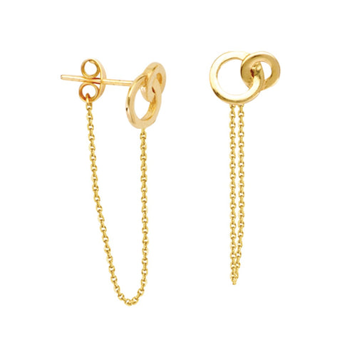 Interlocking Circles Front to Back Chain Earrings - 14K Yellow Gold