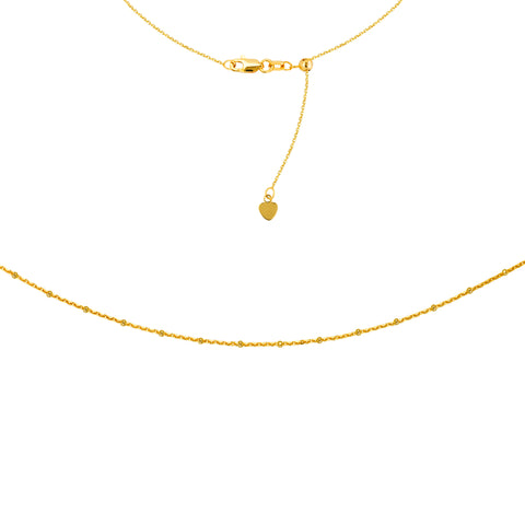 "Saturn Chain Choker Adjustable Necklace 16"" - 14K Yellow Gold"