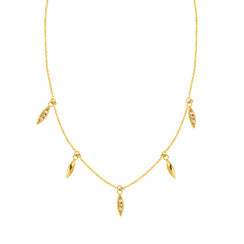 "Marquise Diamond Dangle Necklace 1/10 ctw 16-18"" - 14K Yellow Gold"