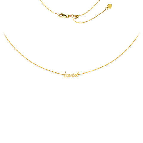 """Loved"" Choker Adjustable Necklace 17"" - 14K Yellow Gold"