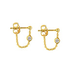 Diamond Front to Back Chain Earrings 1/20 ctw - 14K Yellow Gold