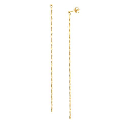 Hammered Chain Duster Earrings - 14K Yellow Gold