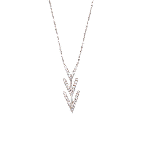 Harpoon CZ Necklace - Sterling Silver