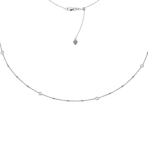 Bezel-Set CZ Station Adjustable Choker Necklace - Sterling Silver - Henry D