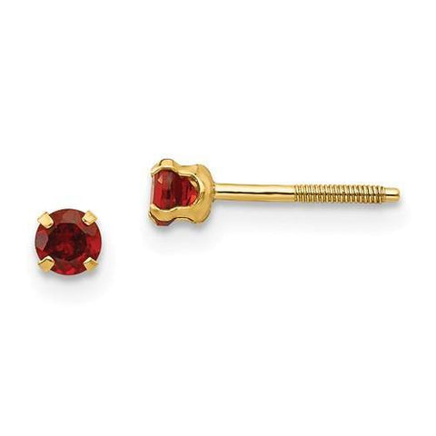 Children's Birthstone Stud Earrings - 14K Yellow Gold