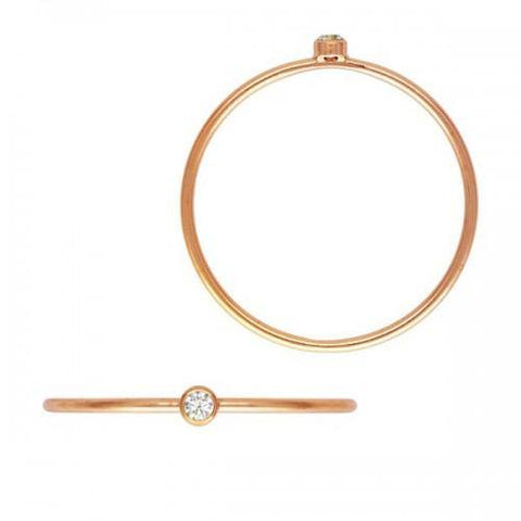 Bezel-Set CZ Stackable Ring - 14K Rose Gold Filled