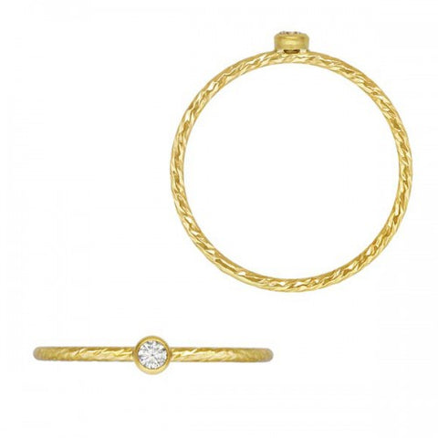 Diamond Cut Faceted Bezel-Set CZ Stackable Ring - 14K Yellow Gold Filled
