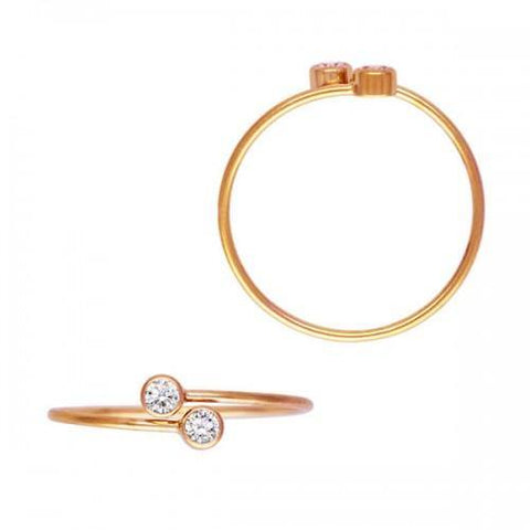 Bezel-Set CZ Adjustable Stackable Ring - 14K Rose Gold Filled