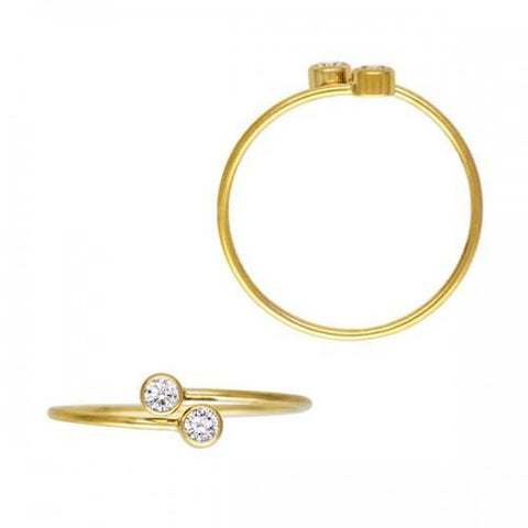 Bezel-Set CZ Adjustable Stackable Ring - 14K Yellow Gold Filled