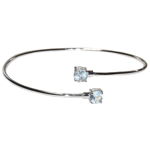 Blue Topaz Bangle Bracelet - Sterling Silver