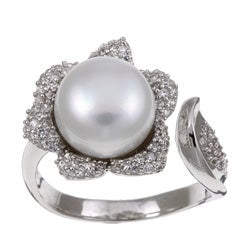Freshwater Pearl & CZ Ring - Sterling Silver