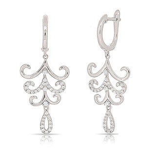 CZ Chandelier Dangle Earrings - Sterling Silver