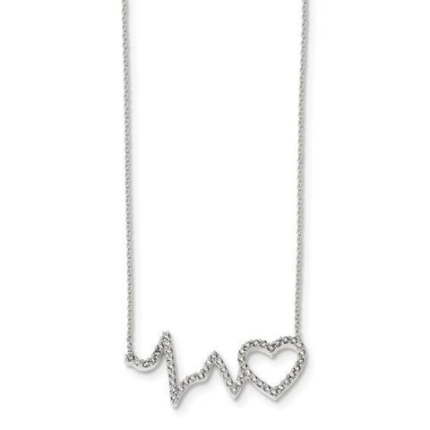 Heartbeat CZ Necklace - Sterling Silver
