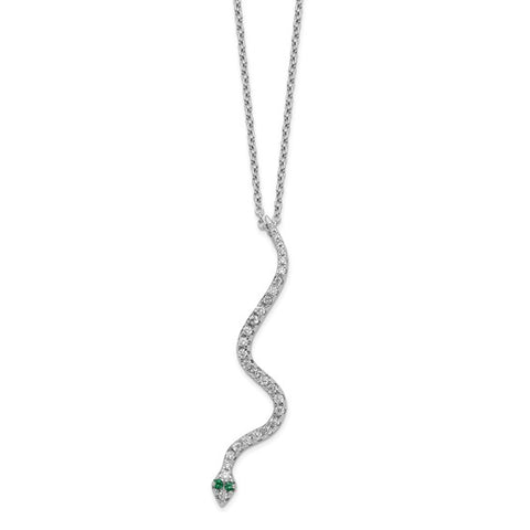 "CZ Snake Necklace 18"" - Sterling Silver"
