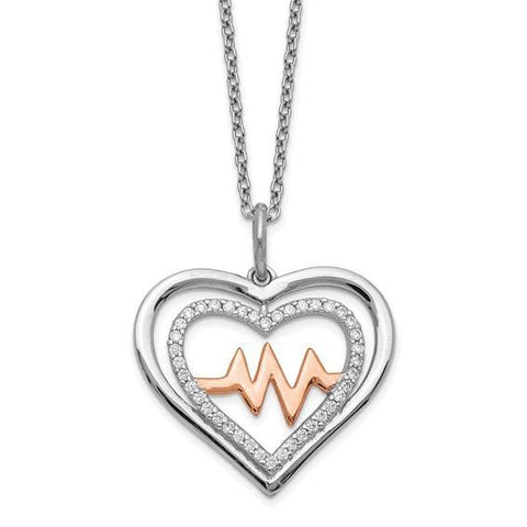 "Heartbeat CZ Heart Necklace 16-18"" - Sterling Silver"