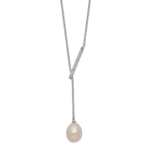 "Freshwater Pearl & CZ Necklace 16-18"" - Sterling Silver"