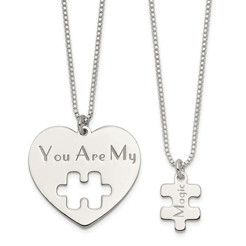 Mommy & Me Puzzle Magic Necklace Set - Sterling Silver
