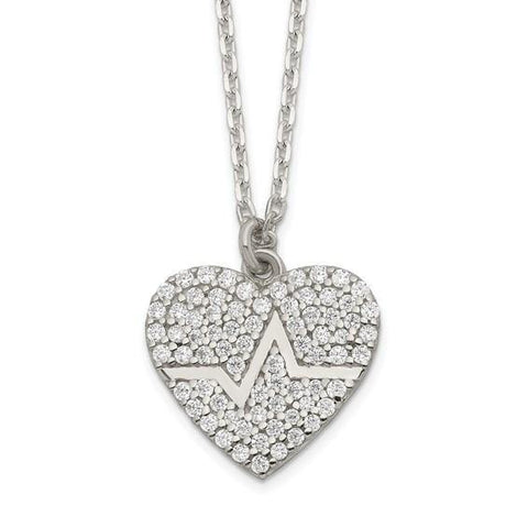 "Heartbeat CZ Heart Necklace 16"" - Sterling Silver"