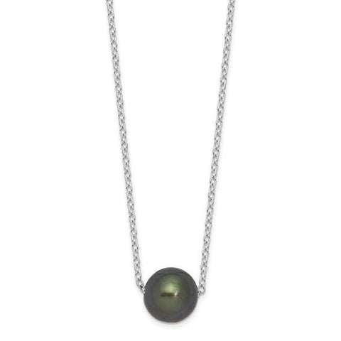 "Tahitian Pearl Necklace 17"" - Sterling Silver - Henry D"