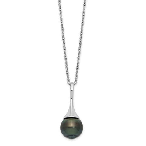 Tahitian Pearl Drop Necklace - Sterling Silver