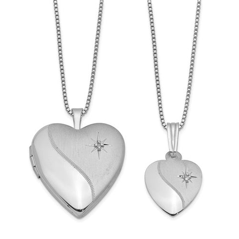 Mommy & Me Diamond Satin Heart Engravable Locket Necklace Set .02 ctw - Sterling Silver