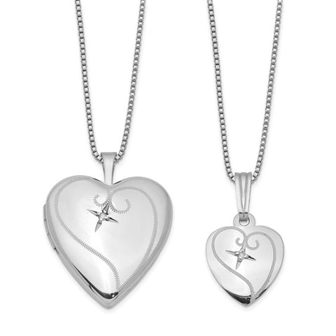 Mommy & Me Diamond Heart Engravable Locket Necklace Set .02 ctw - Sterling Silver