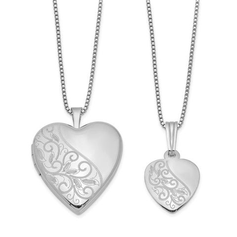 Mommy & Me Heart Engravable Locket Necklace Set - Sterling Silver