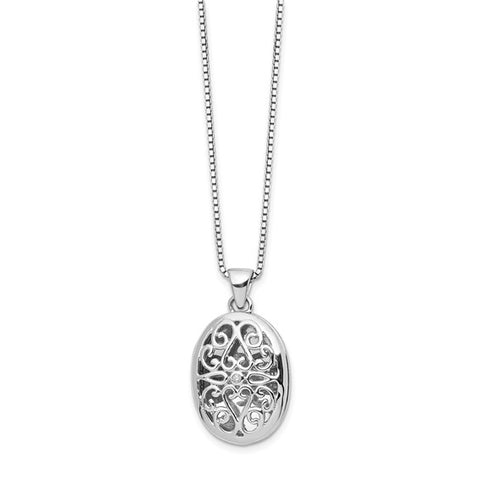 "Diamond Oval Locket Necklace .01 ctw 18""- Sterling Silver"